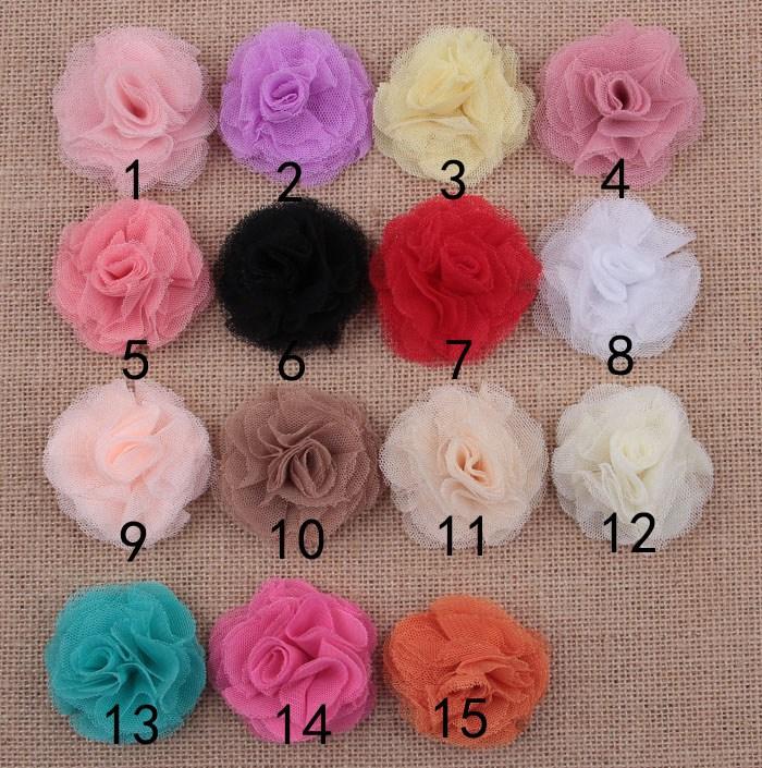F98 50 unids/lote 5 cm Artificial flores de malla de tul flores de ...