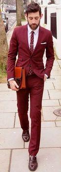 Custom Made Burgundy Men Suit Slim Fit Wine Red Suits Jacket Pants 2 Piece Groom Wedding Suit for Men Tuxedos Blazer