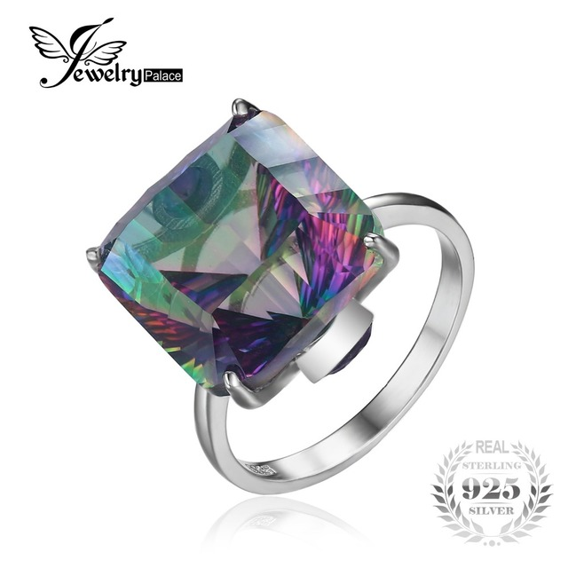10.3ct Square High Quality Fire Mystic Ring 2016 Brand New Hot Sale Best Gift For Women Solid 925 Sterling Silver Jewelry