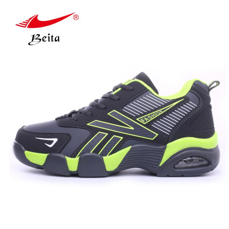 Beita 2017 High Quality Four Seasons Breathable Comfortable Fly Line Running Sneakers Leather Surface Light Sport Shoes BT5705