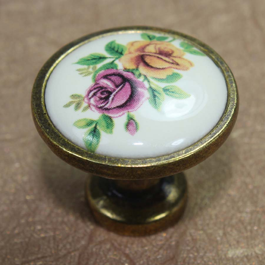 Retro fashion rural ceramic knobs bronze drawer cabinet knobs pulls antique brass dresser doorhandles vintage furniture handles