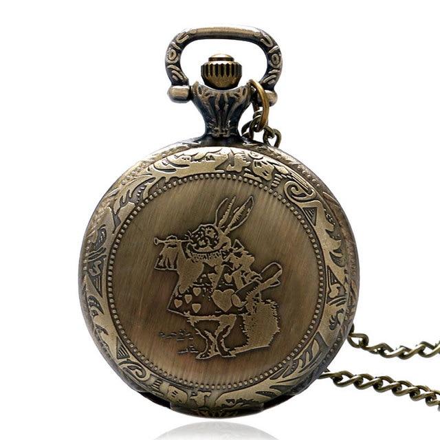 Lovely Pocket Watch Alice in Wonderland Cute Rabbit Design Fob Watches Women Lad