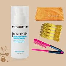 120ML Brazilian keratin treatment  straighten hair comb+ drying towel hair repair for DIY at home straighten hair comb