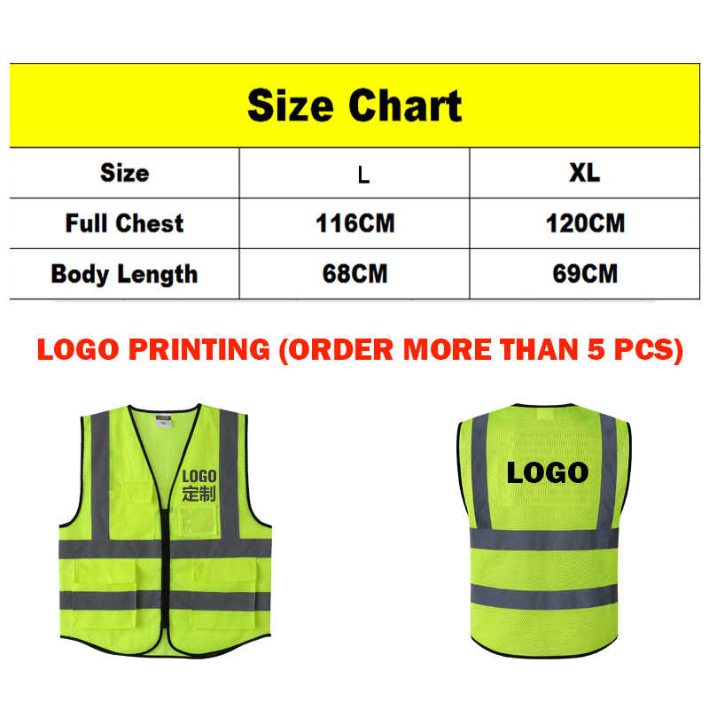 High quality high visibility safety work vests waistcoats fluorescent yellow orange with multi pockets ID pocket chest pocket