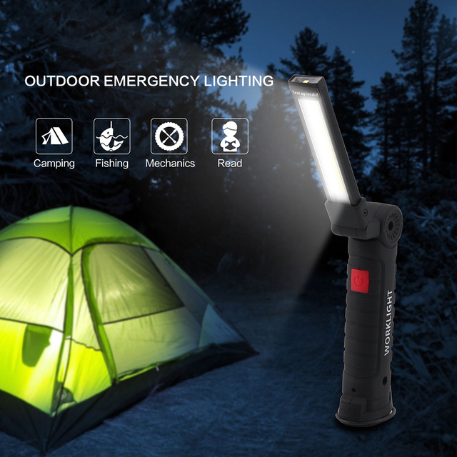 BORUIT 3 Modes COB LED Camping Tent Lamp USB Rechargeable Flashlight Torch Magnetic Working Folding Hook Lights Outdoor Lanterna
