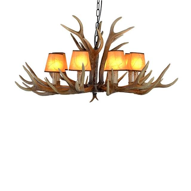 American E14 6/8/10 Heads Europe Deer Horn Antler Pendant Lamp Resin Antler Lampshade Parlor Hall Decor Suspension Luminaire