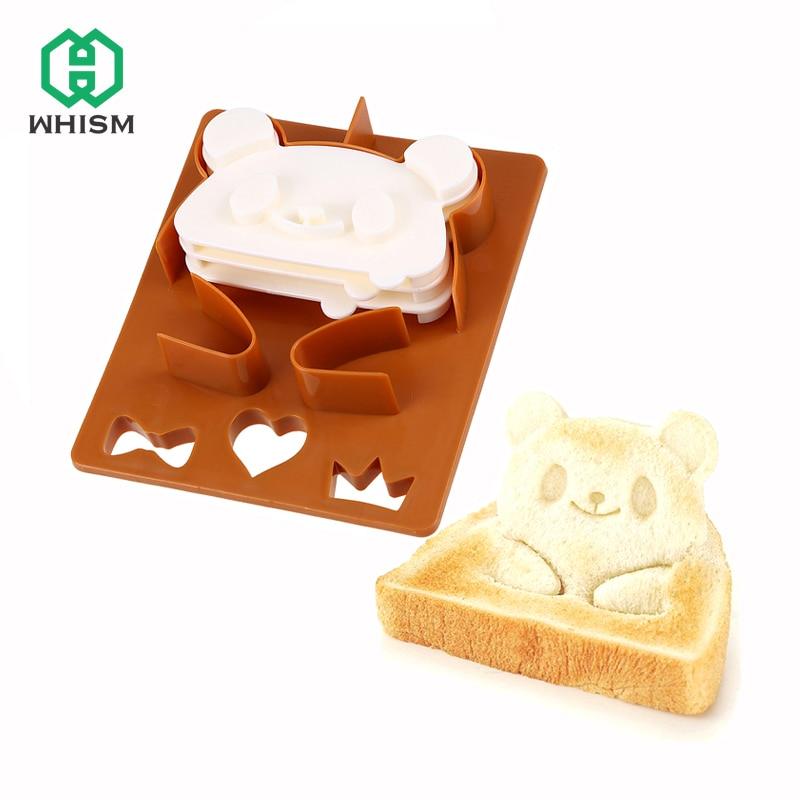 DIY Food Grade Toast Sandwich Cutter Mold Panda Frog Bear Bread Cutter Breakfast Bento Maker Shaper Set Cake Mold Baking Tool