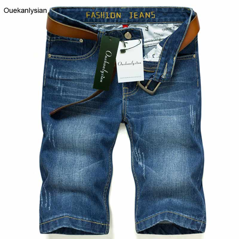 Ouekanlysian Men Straight Short Jeans Light Ripped Scratched Denim Shorts Thin Hole Knee Length Casual Jean Trousers Vaqueros цена 2016