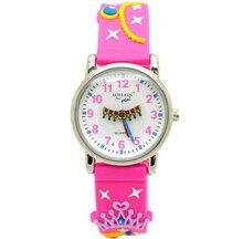 Уиллис мини Корона и принцесса узор Дизайн маленькая девочка Дети Студенты Дети наручные 3D группа часы
