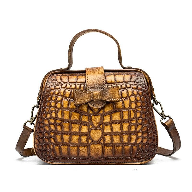 a5ec6c97e129 2018 New Retro Embossed leather Women s handbag Brush color vintage elegant  female Shoulder Bag Messenger Bag