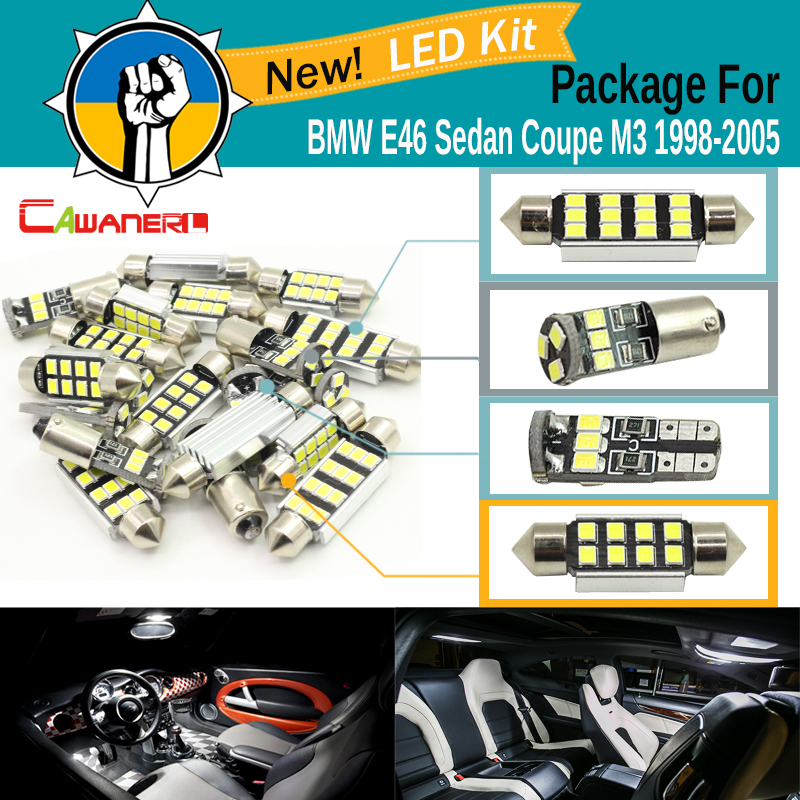 Cawanerl Car Canbus LED Kit Package For BMW E46 Sedan Coupe M3 1998 2005 17 Pieces Error Free 2835 SMD Interior LED Bulb White