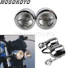 Custom Fighter Motorfietsen Koplamp Dual Twin Head Light Voor Honda Yamaha Suzuki Harley Cafe Racer W/ 25 38mm Beugel