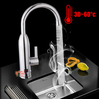 360° Instant Electric Faucet Tap LED Display Hot Water Heater Stainless Steel Faucet For Bathroom Kitchen