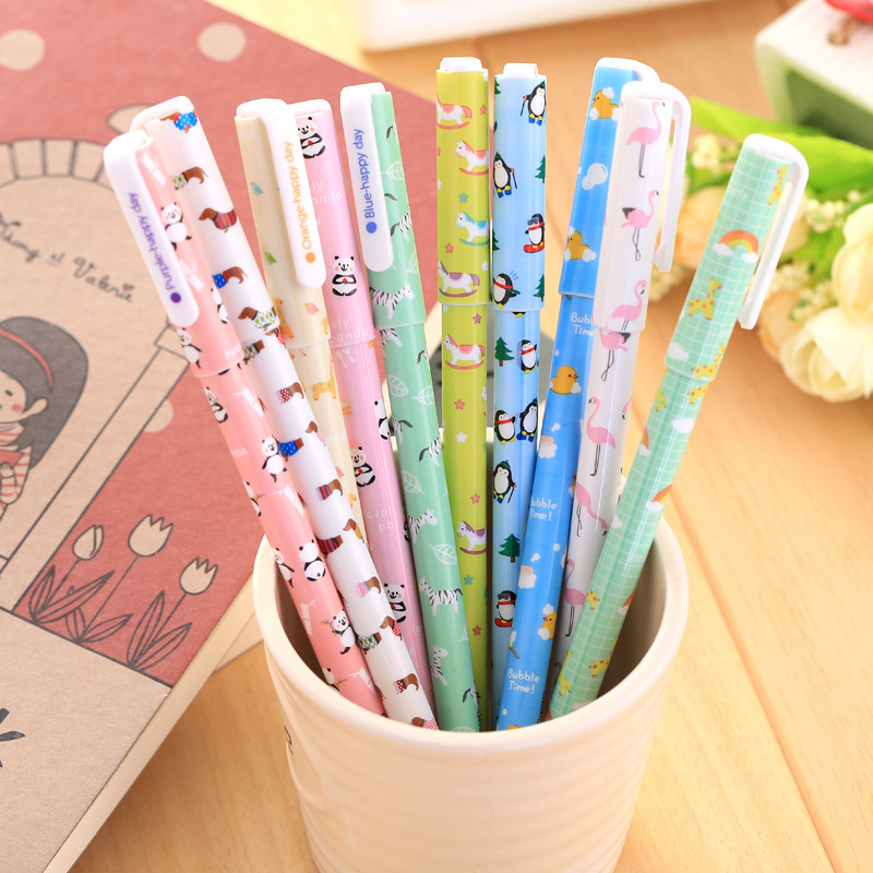 10 pcs/set Cartoon ainmals colored gel pens for writing Cute Panda 0.35mm roll pen kids gift school office supplies escolar