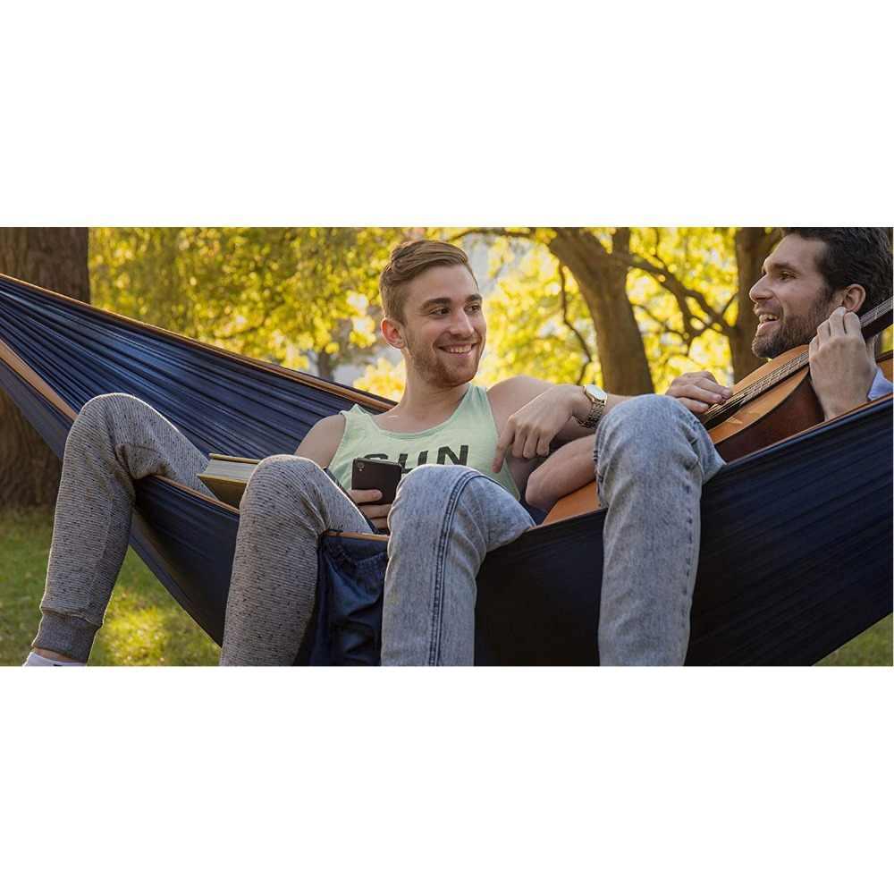 2 человека двойной Кемпинг гамак с 2 шт ремни для дерева XL 10 футов нейлон портативный сверхмощный вмещает 700lb для сидения Висячие продажи