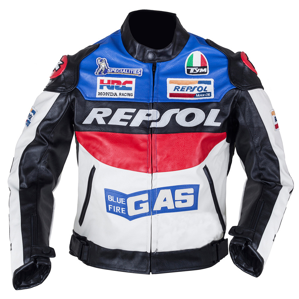 Duhan Repsol Motocross Jackets Repsol motorbike racing jackets PU leather Oxford cloth, orange & blue color M - XXL duhan moto gp motorcycle repsol racing leather jacket vs02 orange blue m l xl xxl 3xl good pu leahter made high quality fast