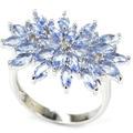 8 # Мода Насыщенный Синий Фиолетовый Танзанит SheCrown женщины Обручальное Создания Серебряное Кольцо 26 х 20 мм