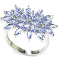 8# Fashion Rich Blue Violet Tanzanite SheCrown Woman's Engagement Created Silver Ring 26x20mm