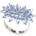 8 # Moda Rico Azul Violeta Tanzanite SheCrown mulher Engagement Criado Anel de Prata 26x20mm
