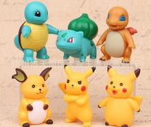 6pcs/set Pokemon Pikachu Squirtle Ivysaur PVC Action Figures Raichu Statue Anime Figure Figurines Pocket Monster Dolls Kids Toys