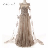 Leeymon Sexy Backless Real Samples Evening Gown Long Sleeves Lace Evening Dress Formal Party Dress RE01