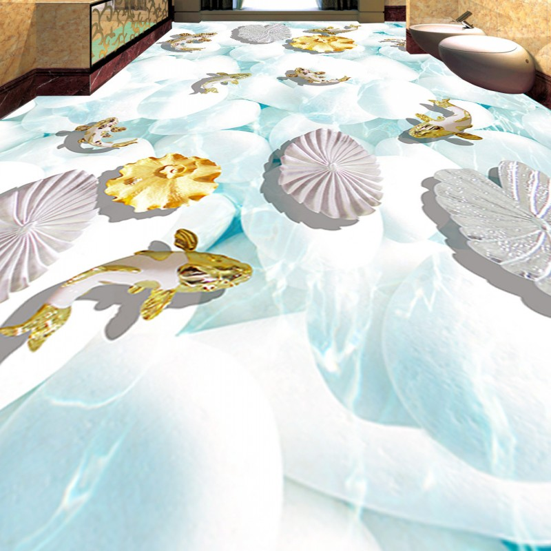 Free Shipping 3D Koi lotus leaf stone floor custom stereo self-adhesive waterproof bathroom wallpaper wear mural