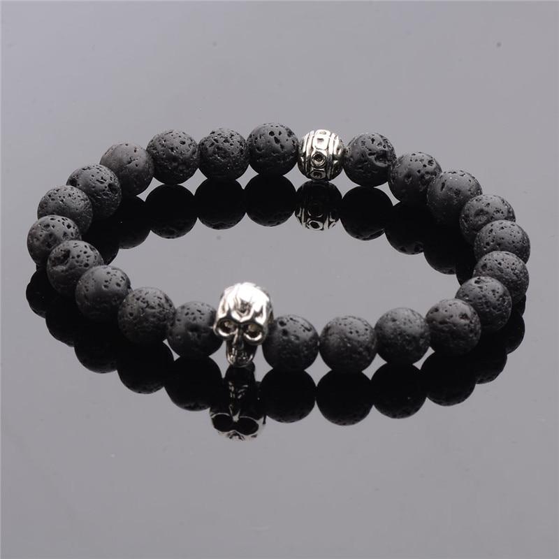 Handmade Tiger Eye Natural Stone Skull Bracelets & Bangles Black Lava Beads Bracelets For Women Men Jewelry AB054