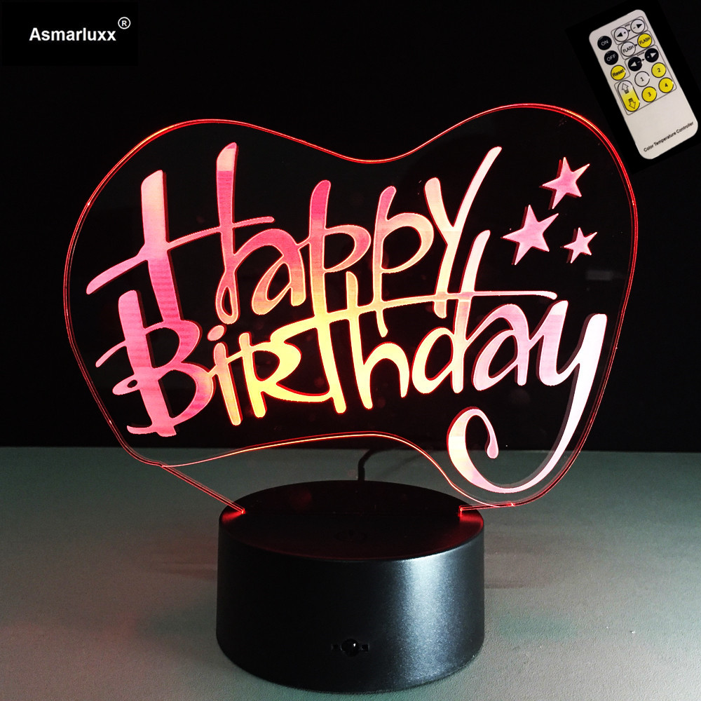 Remote Touch 3D Happy Birthday Building Fashion Night Light Mood Atmosphere Illusion Lamp Bedroom Friend Family Child Toys Gifts