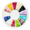 Nail Art Rhinestones decoration 3D Wheel 12 Mix Color Glitter Gems Design stone Round Bling Crystal sticker Nail tools