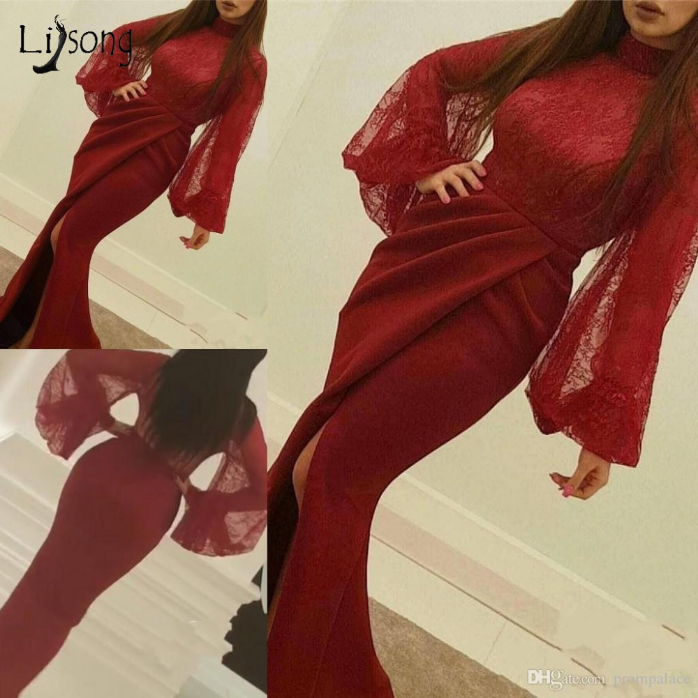 Suadi Arabic Red Lace   Prom     Dresses   With Puff Full Sleeves High Collar Muslim Long Mermaid   Prom   Gowns Side Split Abiye New