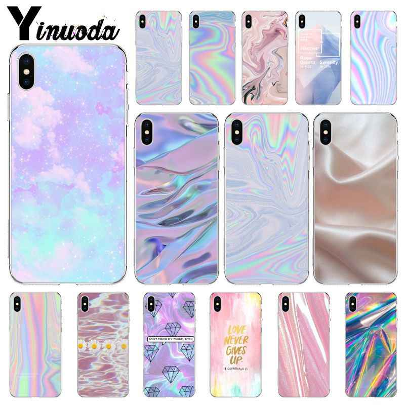 Yinuoda Pastel Metallic Tumblr Cute Pretty Cell Phone Bag Case For Apple Iphone 8 7 6 6s Plus X Xs Max 5 5s Se Xr Case