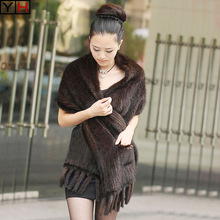 Scarf Shawl Mink-Fur Fur-Cape Knitted Female Natural Winter Women High-Quality 100%Real