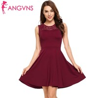 ANGVNS Women Lace Floral Patckwork A Line Dress Party O Neck Sleeveless Slim Mini Dresses Bridesmaid