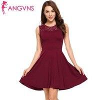 ANGVNS Women Lace Floral Patckwork A Line Dress Party O Neck Sleeveless Slim Mini Dresses Bridesmaid