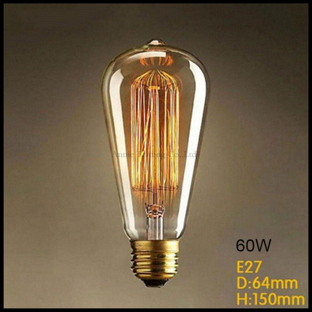 220V 60W edison bulb ST64 E27 vintage Edison light bulbs 60w incandescent lamp bulb carbon filament bulb lampara de hendidura