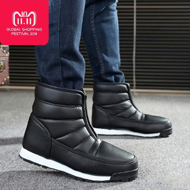 Gli uomini di inverno stivali 2018 di inverno scarpe impermeabili antiscivolo stivali da uomo della piattaforma della caviglia caldo stivali da neve big size 35 -46