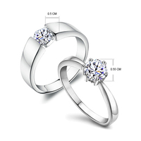 100 Real 925 Sterling Silver Cubic Zircon Rings For Lovers Couples Wedding Engagement Women Men Luxury