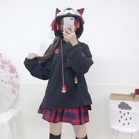 Japanese Style Fox Pattern Hooded Sweatshirts Women Autumn Harajuku Vintage Embroidered Tassel Ear Loose Hoodie Lolita Pullovers