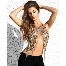 Boho seksi muhteşem Metal Sequins püskül demeti kolye sutyen zincir kadınlar takı Bikini Metal alaşım bildirimi vücut zinciri