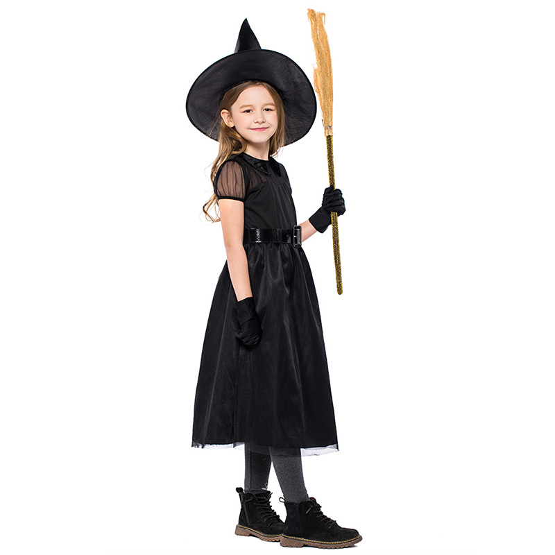 VASHEJIANG Children Witch Halloween Costumes For Kids Pretty Black Fly Witch Costume gothic  Carnival Party Stage Show Cosplay