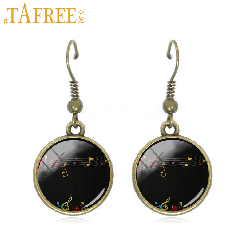 TAFREE Piano Score Drop Earrings black and white dangle earrings round dome Glass fashion music lovers gift jewelry A561
