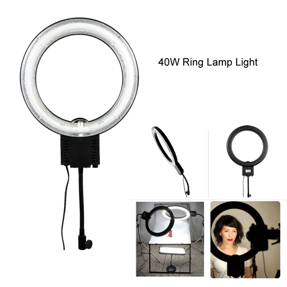 Prix pour Studio 40 w 5400 k lumière du jour fluorescent diva anneau lumière lampe pour la photographie caméra téléphone vidéo photo faire up selfie 220 v