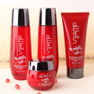 ФОТО DAINME Red Pomegranate Skin Care Set 4pcs Face Cream 50g+Cleanser 100g+Toner 120ml+Moisturizing Lotion 120ml