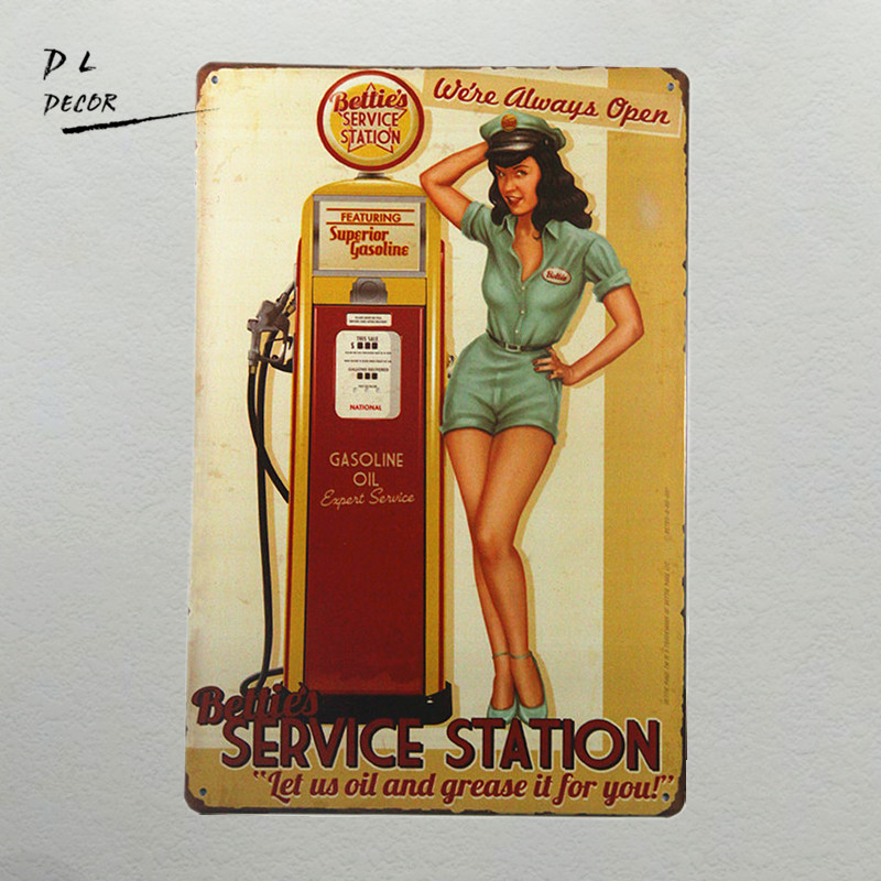 DL-Bettie's Service Station Pin Up Girl Sign Let us oil and grease it for you. We're Always Open!