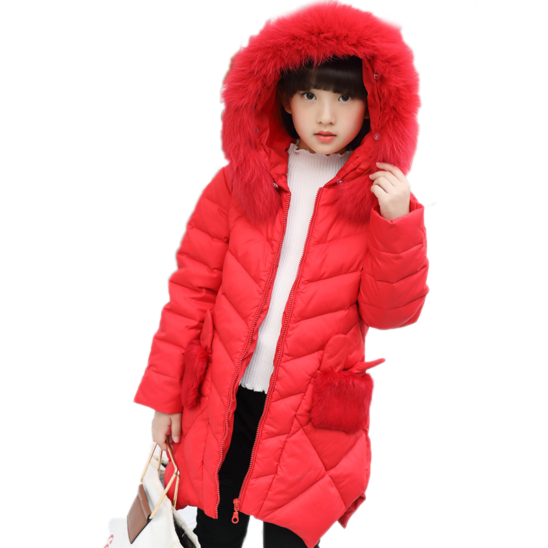 2018 girl winter jackets kids winter jacket solid long section girl duck down jacket big collar hooded children outwear jackets down winter jacket for girls thickening long coats big children s clothing 2017 girl s jacket outwear 5 14 year