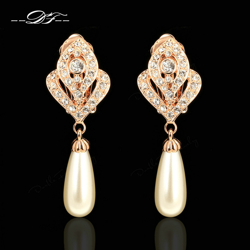 Simulated Pearl Beads Rose Gold Color Clip Earrings Fashion Brand Cubic Zirconia Jewelry For Women Party Wholesale DFE244 11 11 sale luxurious pearl clip earrings without piercing for women rose gold color high quality fashion bridal wedding jewelery