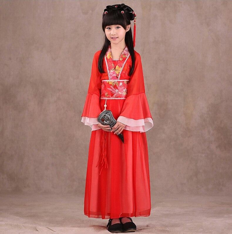Ethnic National: Children Kids Baby Girls Hanfu Han Chinese Folk Dance