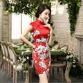 2017 Autumn Fashion Red Floral Cheongsams Retro Chinese Dresses Women's Short Sleeve Party Dress Chinese Traditional Qipao