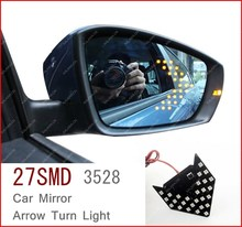 2 шт./лот 27 SMD 3528 LED Arrow Панели Свет Для Автомобилей Зеркала Сигнал Поворота Сигнальная лампа FREESHIPPING GGG