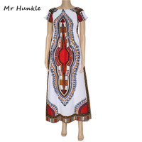 Band Mr Hunkle Vintage Women's Dashiki Dress Petal Sleeve African Print Maxi Vestidos African Long Dresses For Women